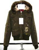 Women vintage outer warm jacket with imitation fur